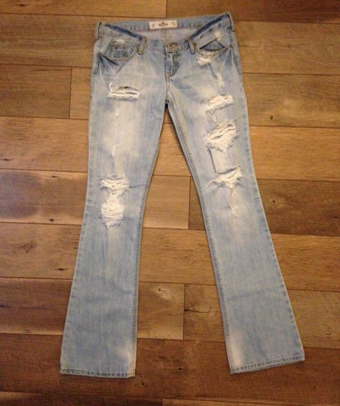 Hollister light washed factory distressed jeans 3r