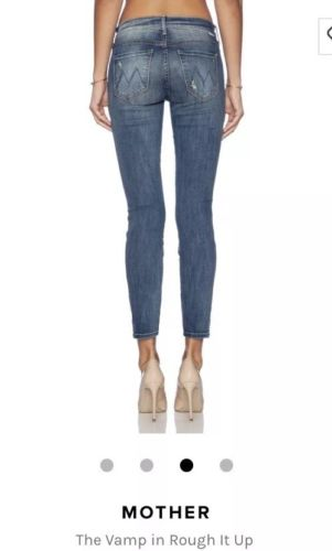 Women's MOTHER Jeans The VAMP in ROUGH IT UP Skinny Ankle 26x28 Retail $210