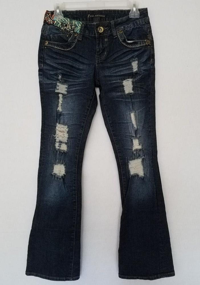 Z CO Premium Sz 7 Womens Jeans Low Rise Distressed Dark Denim Embellished Pants