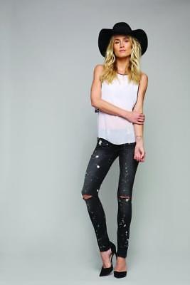 $198 Black Orchid Sienna Tie Dye Distressed Skinny Jeans In Milky Way