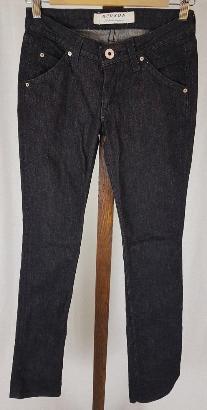 Hudson USA Stella Tall Skinny Jeans Low Rise Back Flap Pockets Black sz 24 26X35
