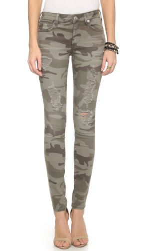True Religion Halle Distressed Destroyed Camo Skinny Ankle Camouflage Jean 26x30