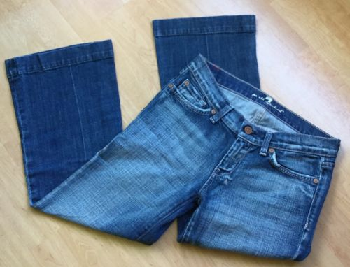 7 For All Mankind Women SZ 26 Dojo Capri Medium Wash Wide Leg Denim Jeans