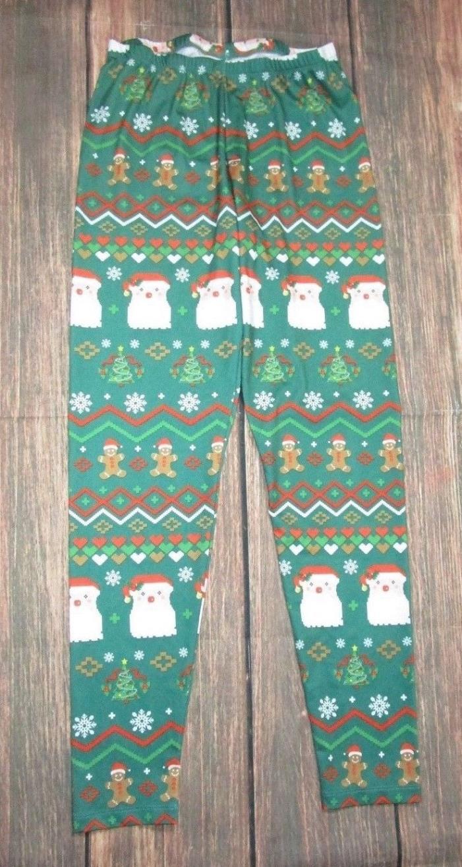 Freeze Leggings Size Juniors Large Santa Claus Gingerbread Man Winter (U1-15)