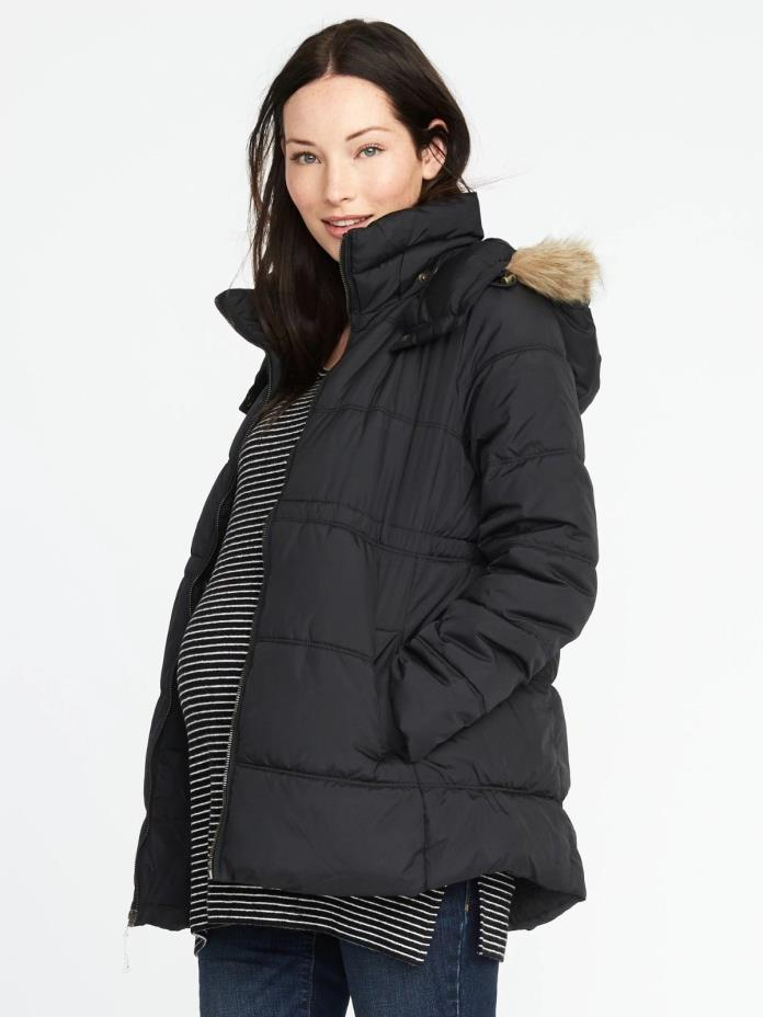 Old Navy Black Maternity Hooded Frost-Free Jacket XS- NWT
