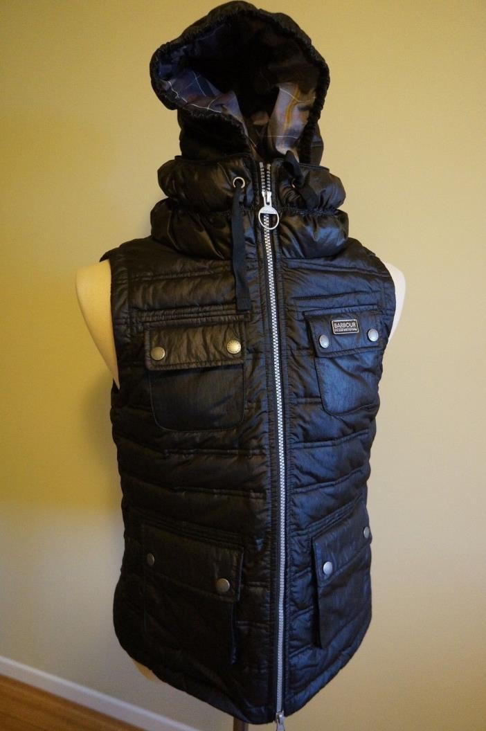 BARBOUR NEWLAND GILET TEAL DOWN VEST W/HOOD W's SZ US 8