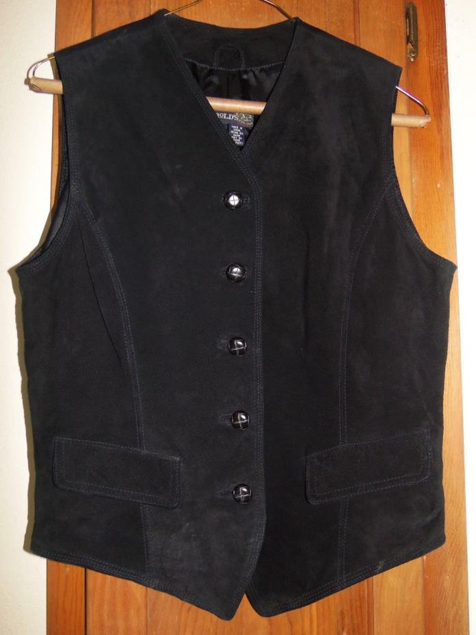 HAROLD'S Very Nice Black Suede Button Down the Front Lined Vest - Size S