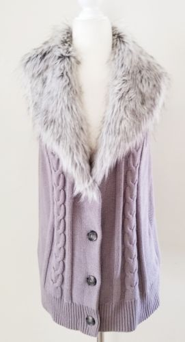 NWT ANN TAYLOR GREY FUR COLLAR SWEATER VEST SZ L 12 14