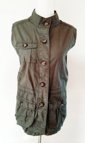 OLD NAVY OLIVE MILITARY CARGO VEST SZ L 12 14