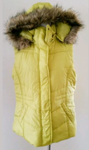 NEW YORK & CO LIME GREEN FAUX FUR PUFFER VEST SZ XL 16 18