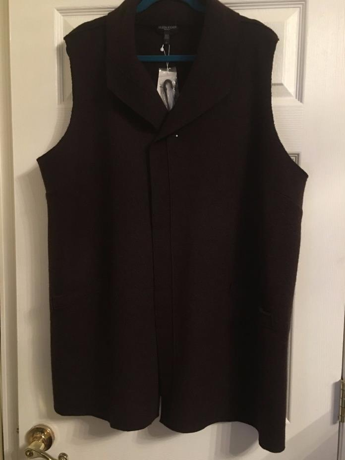 NWT $358 Eileen Fisher Clove Boiled Wool Funnel Neck Vest 2X 3X