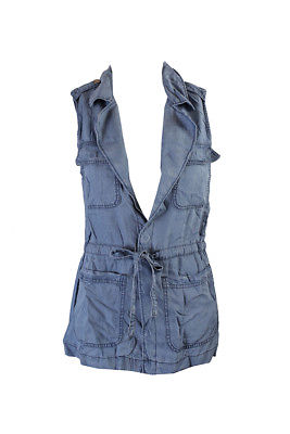Sanctuary Blue Sun Bleached Denim Cargo Vest XS