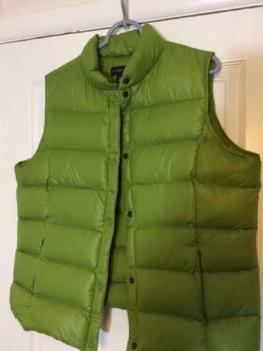 LANDS END WOMENS LARGE 14-16 CHARTREUSE GREEN GOOSE DOWN QUILTED VEST EUC