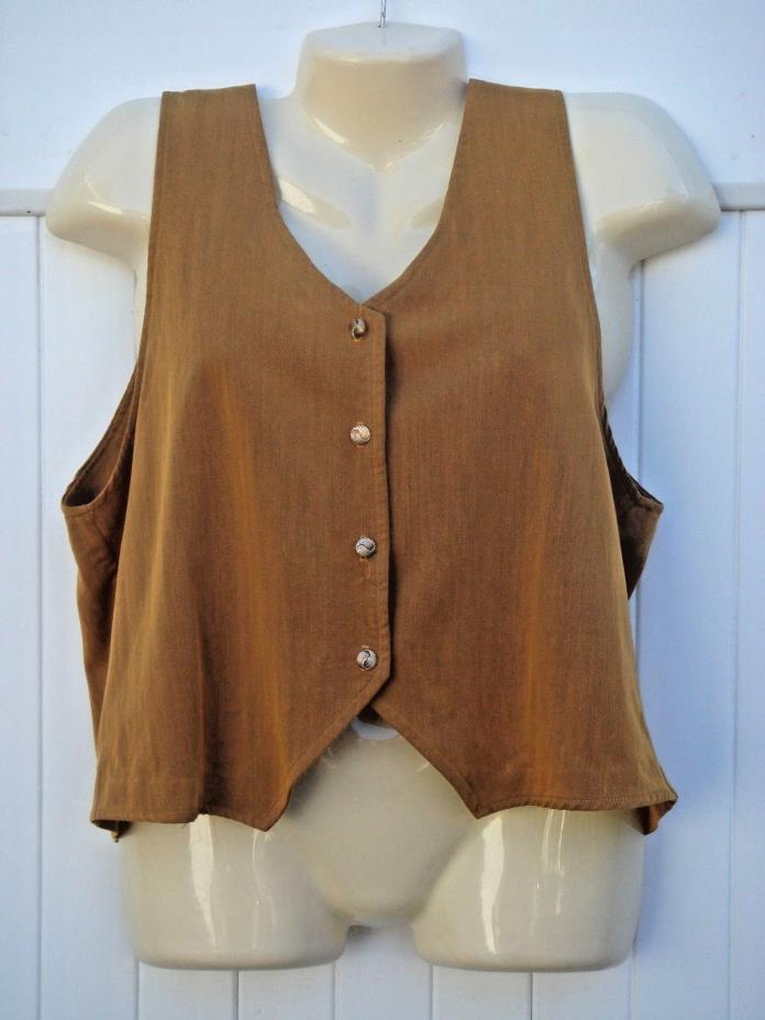 TANGENTS S GOLDEN MUSTARD YELLOW SLEEVELESS BUTTON FRONT VEST SMALL