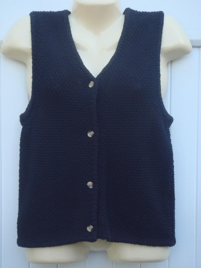 BLACK WAFFLE WEAVE KNIT SWEATER VEST BUTTON FRONT JR XL OR WOMEN'S SMALL