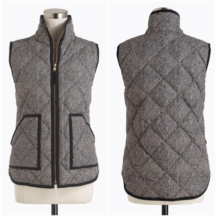 NWT J CREW Herringbone Printed Excursion Quilted Puffer Down Vest  Size XS