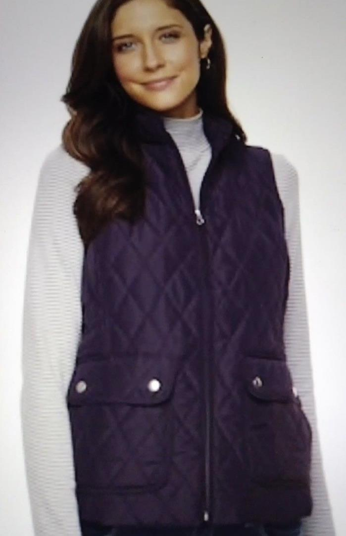 New Women's Quilted Ski style Puff Vest Jacket Extra Large / XL Classic Plum