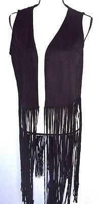 Steve Madden Faux Suede Long Fringe Vest - Black One Size