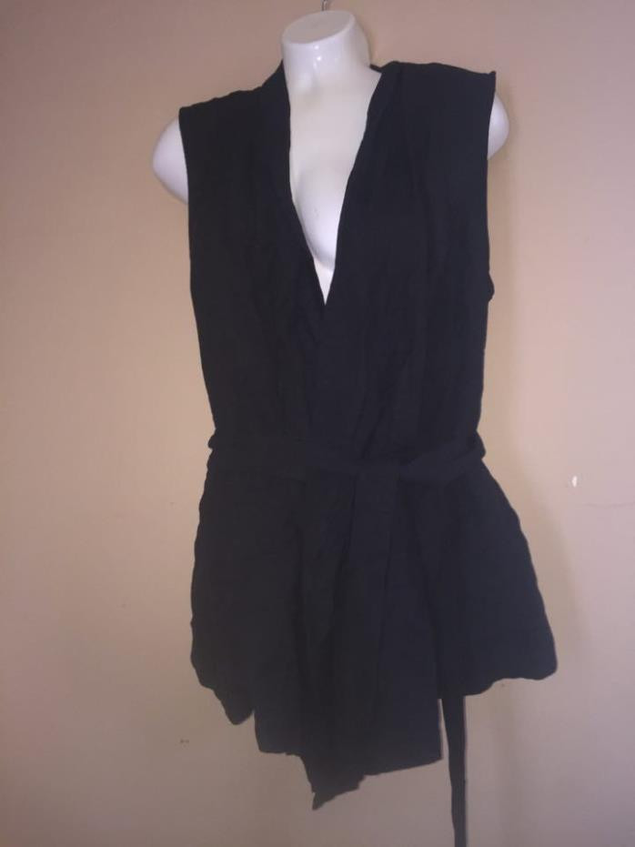Womens WhoWhatWear Sleeveless Vest Top Solid Black Size Medium -NEW