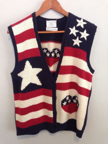 Marisa Christina Size L Hand knit American Flag Sweater Vest Patriotic Military