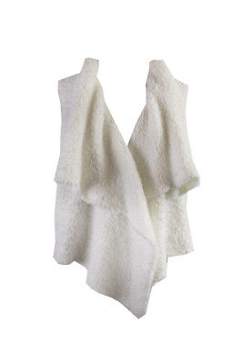 Kensie White Sleeveless Shawl Collar Furry Plush Vest M