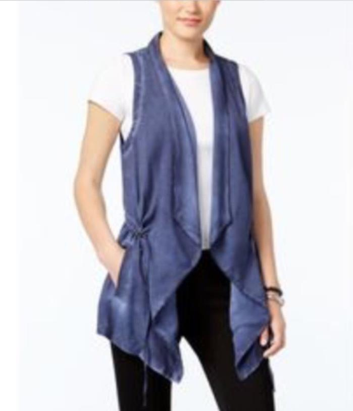 Bass Draped Open-Front Vest Deep Navy S $89 #28-14