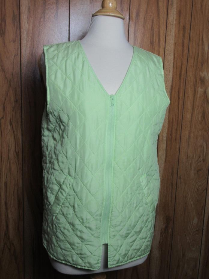 DENIM & CO Lightweight Silk Quilted Vest Size Small Green Womens (Q1-3)