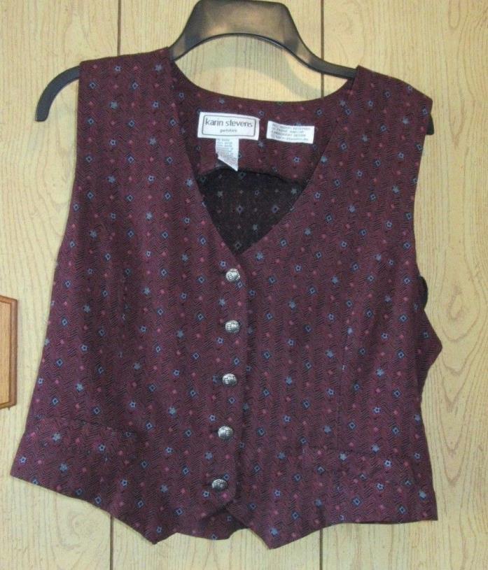 Karin Stevens Petites Vest 5 Button Size 12 Floral (E5-9)
