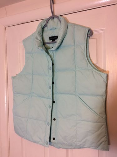 LANDS END WOMENS Large 14-16 GOOSE DOWN QUILTED VEST GORGEOUS PASTEL TEAL COLOR