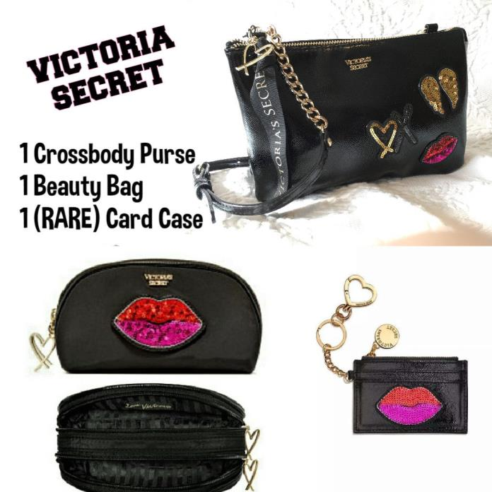 Victoria's Secret Runway Patch Card Case Crossbody & Beauty Bag??3pc SET