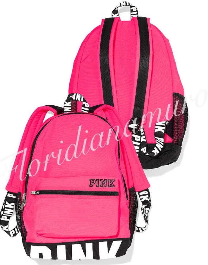 New Victoria's Secret Pink Campus Backpack Bookbag White Logo Black Letter NIP