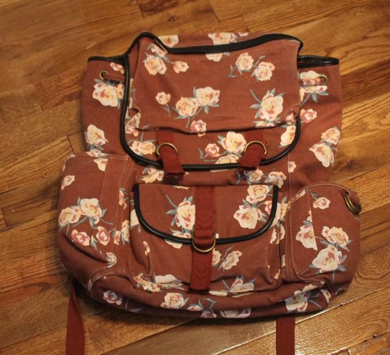 Urban Outfitter Floral Bookbag, Rust colored, NEW