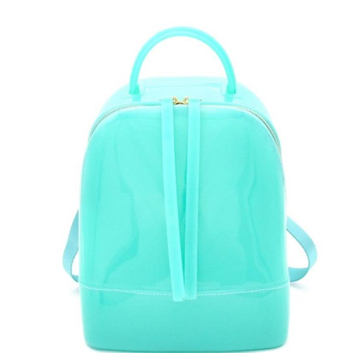 NEW Unique Spring Summer 2018 Convertible Jelly Backpack Tote (Turquoise)