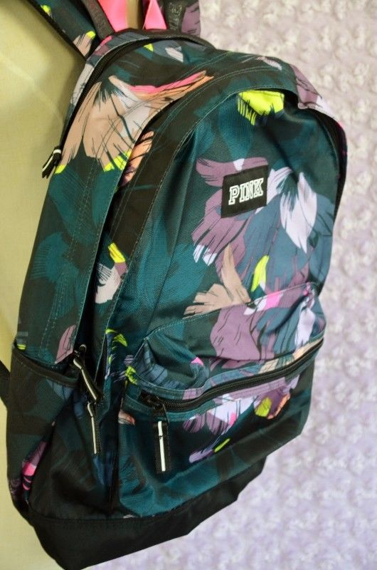 Victoria Secret PINK Campus Backpack Black Floral Print Tropical New with Tags