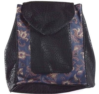 NWT ABERCROMBIE & FITCH Women's FAUX LEATHER MINI BACKPACK  Navy Pattern