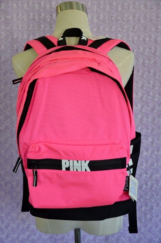 Victoria Secret PINK Campus Backpack Pink Black with Logo Solid - New with Tags