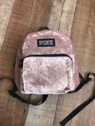 Victorias Secret PINK MINI VELVET Campus Backpack - SHEER PINK BRAND NEW