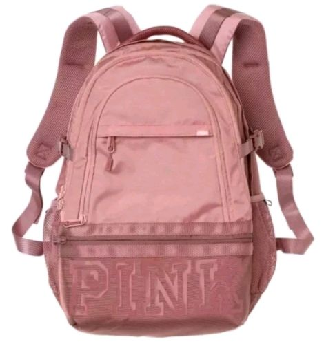 Victoria's Secret PINK Collegiate Backpack Pink With Cocoa Powder Bookbag NWT