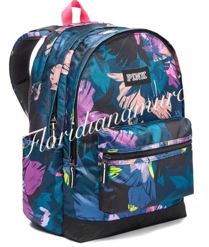 New Victoria's Secret Pink Campus Backpack School Bag Black Floral Blue NWT