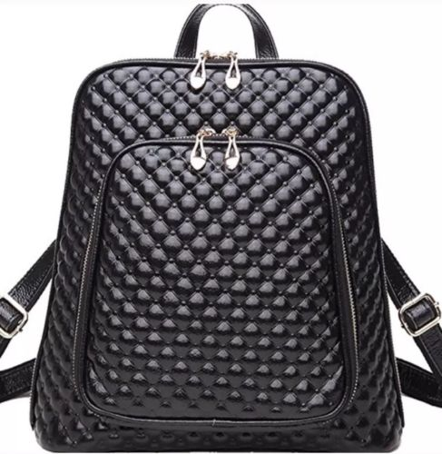 Coolcy PreownedFashion Womens Genuine Leather Backpack Casual Shoulder Bag Black