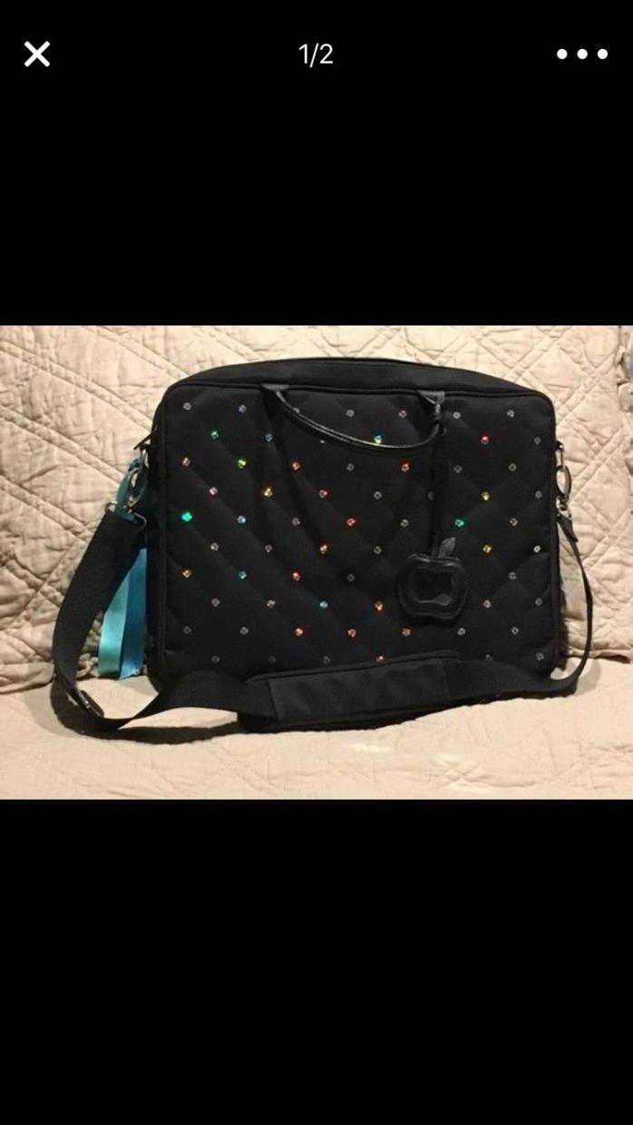 Black with sequins woman's laptop carrying/brief case (used); pink interior