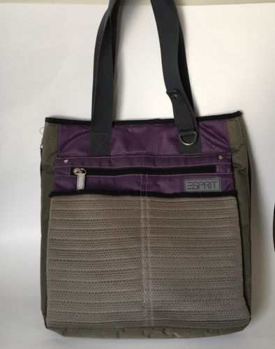 ESPRIT Accessories Laptop Tote in Purple and Gray