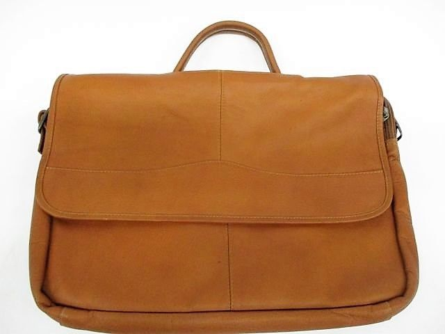 David King Soft Leather tan leather half flap expandable briefcase/laptop NWT