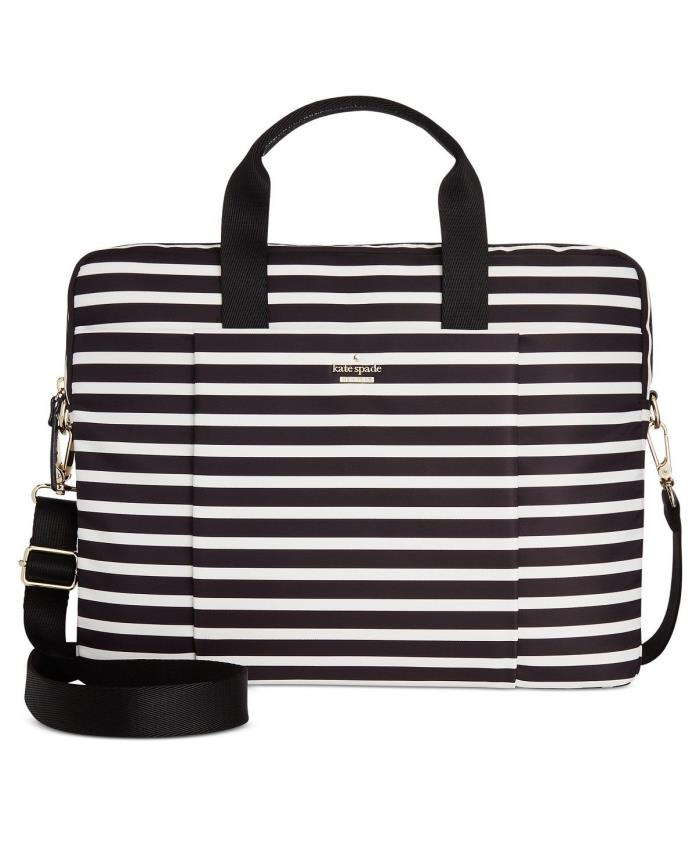 NWT KATE SPADE CLASSIC STRIPE NYLON LAPTOP BAG  CASE Black/Cream Dust Bag