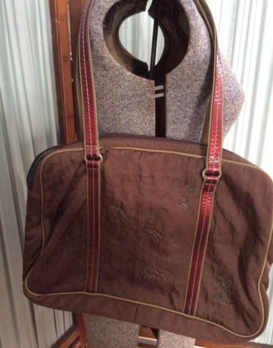 High  Way Brown Nylon Laptop Shoulder Tote Bag