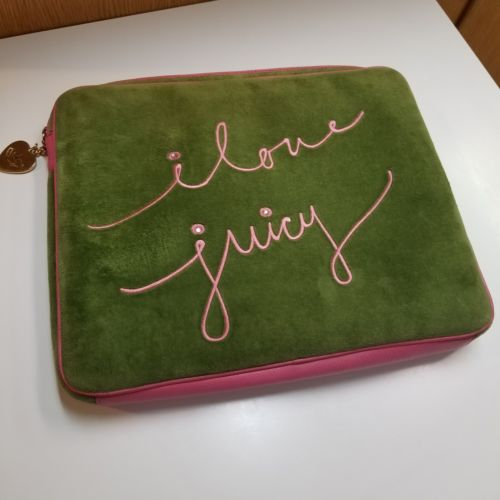 Juicy Couture Laptop Bag 13 Inches Green Velvet & Pink Leather Case Sleeve