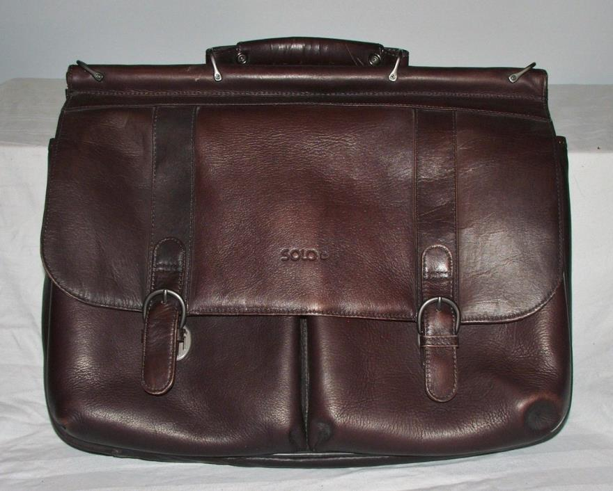 Solo Brown Leather Executive Laptop Bag Briefcase