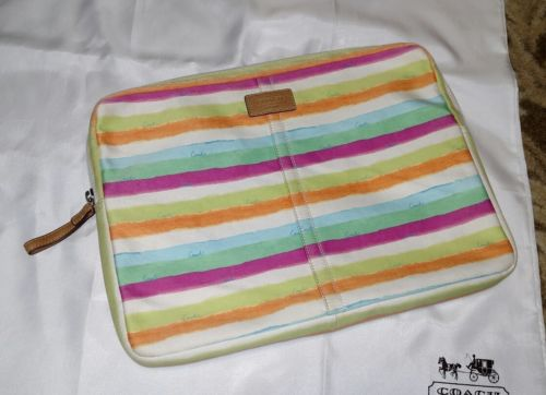 COACH LAPTOP COMPUTER CASE BAG HAMPTONS WATERCOLOR BLUE GREEN PINK WHITE STRIPE