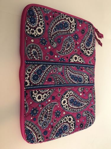 Vera Bradley Pink And Blue Paisley Lap Top Pad/zipper Case