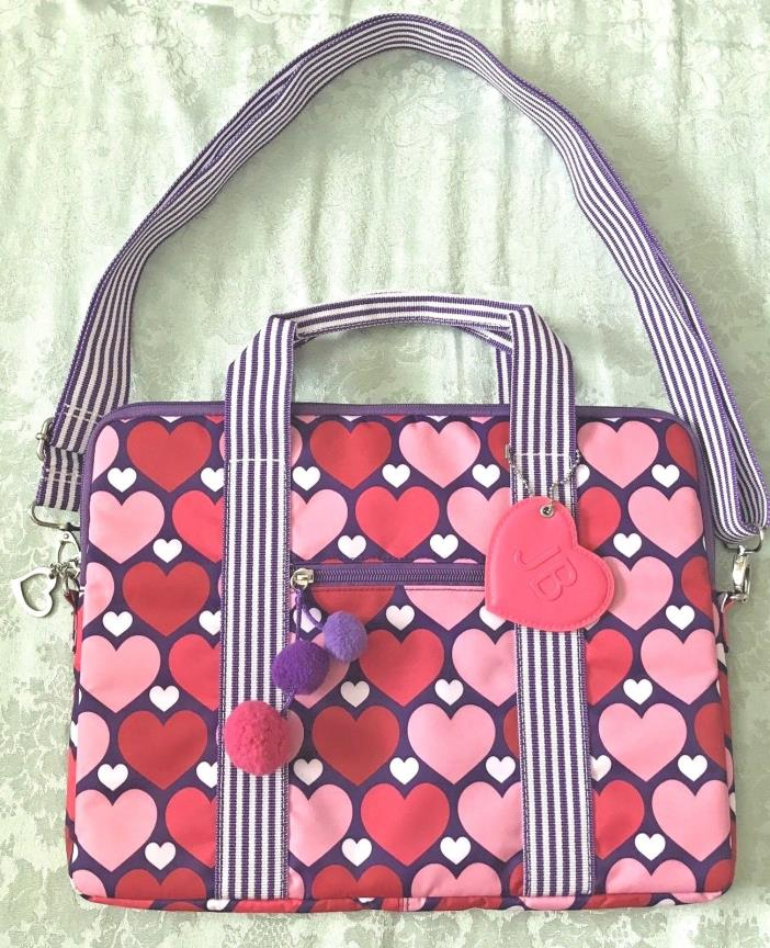 JUSTIN BIEBER PINK/WHITE HEARTS LAPTOP TOTE BAG WITH STRAP QUILTED HEARTS